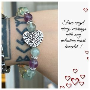Fluorite valentine heart bracelet + free earrings